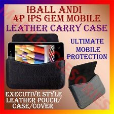 ACM-HORIZONTAL LEATHER CARRY CASE for IBALL ANDI 4P IPS GEM MOBILE POUCH COVER