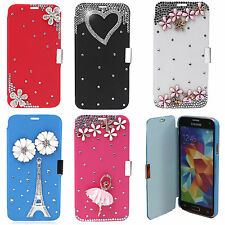 3D BLING LUXURY LEATHER FLIP CASE COVER FOR SUMSUNG GALAXY S5, S5 S4 S3 MINIS