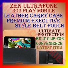 ACM-BELT CASE for ZEN ULTRAFONE 303 PLAY MOBILE LEATHER CARRY POUCH COVER CLIP