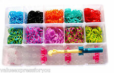 2000 COLOURFUL RAINBOW RUBBER LOOM BANDS BANDZ BRACELET MAKING TWISTZ KIT SET UK
