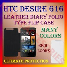 ACM-LEATHER DIARY FOLIO FLIP CASE for HTC DESIRE 616 FULL FRONT & BACK COVER NEW