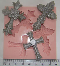 Silicone Mould Cross Religious Holy Communion Babys Christening Sugarcraft fimo