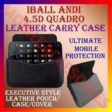 ACM-HORIZONTAL LEATHER CARRY CASE for IBALL ANDI 4.5D QUADRO MOBILE POUCH COVER