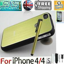 Metal Brushed Aluminium Rubber Rim Bumper Case for iPhone 4 4S Free Stylus Gifts