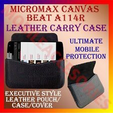 ACM-HORIZONTAL LEATHER CARRY CASE for MICROMAX CANVAS BEAT A114R POUCH COVER NEW