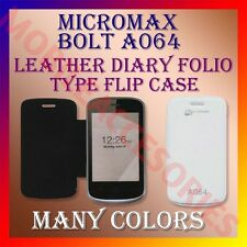 ACM-LEATHER DIARY FOLIO FLIP FLAP CASE for MICROMAX BOLT A064 FRONT & BACK COVER