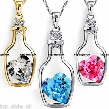 Crystal Heart Inside Bottle Unique Necklace Cute Xmas Gift Best Friend Message