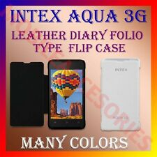 ACM-LEATHER DIARY FOLIO FLIP CASE for INTEX AQUA 3G MOBILE FRONT & BACK COVER