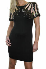 NEW (3002-1) Ladies Stretch Bodycon Dress Sequin Covered Shoulders Black 6-12