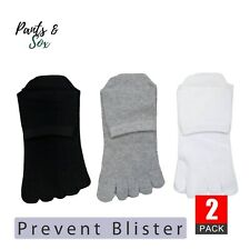 2 Pairs Womens Toe Socks Premium Cotton Ankle Lady Five Finger Socks Black White