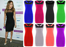 LADIES PLUS SIZE PETER PAN COLLAR BODYCON DRESS CELEB LOOK  MESH TOP SIZE 8-24