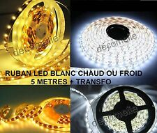 RUBAN LED BLANC CHAUD OU FROID STRIP 5 METRES IP20 IP65 INTERIEUR OU EXTERIEUR