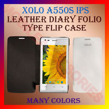 ACM-LEATHER DIARY FOLIO FLIP CASE for XOLO A550S IPS MOBILE FRONT & BACK COVER