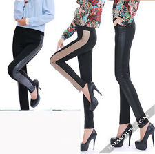 Sexy Leggings Wetlook Leggins gefüttert Hose Clubwear Style trendy S M 36 38 40