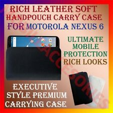 ACM-RICH LEATHER SOFT CASE of MOTOROLA GOOGLE NEXUS 6 MOBILE HANDPOUCH COVER NEW