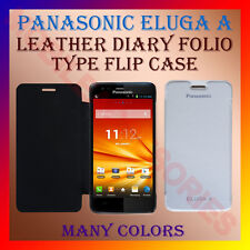 ACM-LEATHER DIARY FOLIO FLIP CASE for PANASONIC ELUGA A MOBILE FRONT BACK COVER