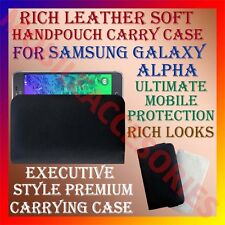 ACM-RICH LEATHER SOFT CASE for SAMSUNG GALAXY ALPHA MOBILE HANDPOUCH COVER CASE