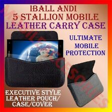 ACM-HORIZONTAL LEATHER CARRY CASE for IBALL ANDI 5 STALLION MOBILE POUCH COVER
