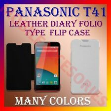ACM-LEATHER DIARY FOLIO FLIP CASE for PANASONIC T41 MOBILE FRONT & BACK COVER