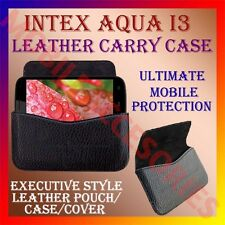 ACM-HORIZONTAL LEATHER CARRY CASE of INTEX AQUA I3 MOBILE POUCH COVER HOLDER NEW