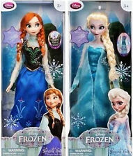 "Disney Store Official Frozen 16"" ELSA & ANNA Musical Singing Light Up Doll Set"