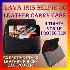 ACM-HORIZONTAL LEATHER CARRY CASE for LAVA IRIS SELFIE 50 MOBILE POUCH COVER