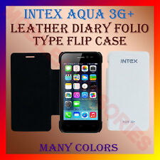 ACM-LEATHER DIARY FOLIO FLIP CASE for INTEX AQUA 3G+ MOBILE FRONT & BACK COVER