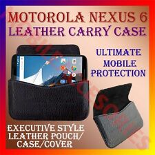 ACM-HORIZONTAL LEATHER CARRY CASE for MOTOROLA GOOGLE NEXUS 6 MOBILE POUCH COVER