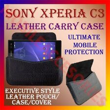 ACM-HORIZONTAL LEATHER CARRY CASE for SONY XPERIA C3 MOBILE POUCH COVER HOLDER