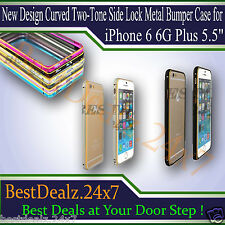 New Design Curved Two-Tone Side Lock Metal Bumper Case for iPhone 6 6G Plus 5.5""