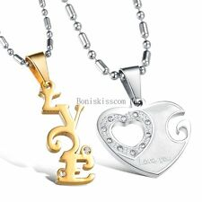 "His and Hers "" Love "" Word Heart Couple Pendant Necklaces Valentine's Gifts"