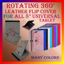 "ACM-ROTATING 360° LEATHER FLIP STAND COVER for 8"" TAB UNIVERSAL CASE ROTATE - R2"