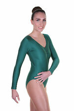 Lycra Leotard Long Sleeve Plain Front - Girls Dance Leotard - (KEELY)
