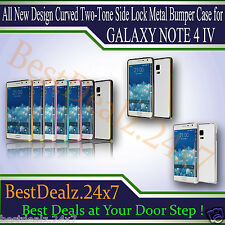 All New Design Curved Two-Tone Side Lock Metal Bumper Case for Galaxy Note 4 IV