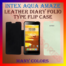 ACM-LEATHER DIARY FOLIO FLIP FLAP CASE for INTEX AQUA AMAZE FRONT & BACK COVER