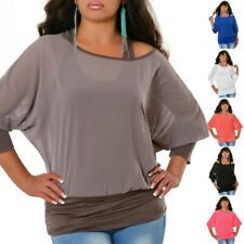 Damen T-Shirt Oberteil Longshirt Top Tunika Bluse 2 in 1 Batwing Fledermaus #605