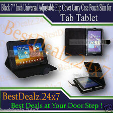 "Black 7 "" Inch Universal Adjustable Flip Cover Carry Case Pouch Skin for Tablet"