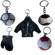 Motorbike Black Leather Zip Jacket Rexine Boxing Gloves Foam Football Keyrings