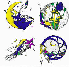 Reusable Static Long Window Cling Sticker Fairy Faerie Folk Star Moon Coloured