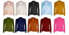 Womens Ladies Long Sleeve Blouse Chiffon V Neck Wrap Front T Shirt Work Top