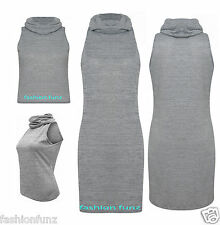 WOMENS LADIES GREY HIGH NECK STRETCH SLEEVELESS POLO KNITTED LOOK BODYCON DRESS