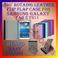 "ACM-ROTATING 360° LEATHER FLIP STAND COVER 8"" CASE for SAMSUNG GALAXY TAB 3 T311"