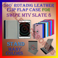 """ACM-ROTATING 360° LEATHER FLIP STAND COVER 8"""" CASE for SWIPE MTV SLATE 8"""" TABLET"""