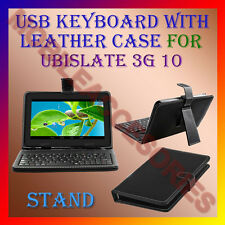 "ACM-USB KEYBOARD 10"" CASE for UBISLATE 3G 10 TABLET LEATHER COVER STAND HOLDER"