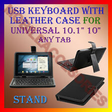 "ACM-USB KEYBOARD 10"" CASE for UNIVERSAL 10.1"" ANY TABLET LEATHER COVER STAND NEW"
