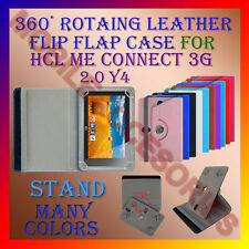 "ACM-ROTATING 360° LEATHER FLIP STAND COVER 7"" CASE for HCL ME CONNECT 3G 2.0 Y4"
