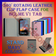 """ACM-ROTATING 360° LEATHER FLIP STAND COVER 7"""" CASE for HCL ME V1 TAB TABLET FLAP"""