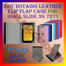 """ACM-ROTATING 360° LEATHER FLIP STAND COVER 7"""" CASE for IBALL SLIDE 3G 7271 TAB"""