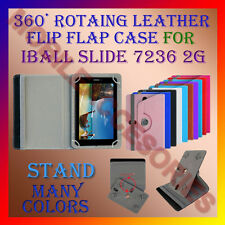 """ACM-ROTATING 360° LEATHER FLIP STAND COVER 7"""" CASE for IBALL SLIDE 7236 2G TAB"""