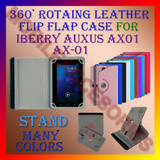 "ACM-ROTATING 360° LEATHER FLIP STAND COVER 7"" CASE for IBERRY AUXUS AX01 AX-01"